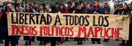 Manifestación de apoyo a presos políticos mapuches