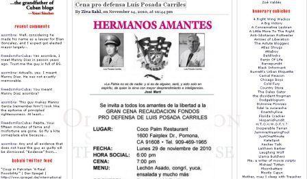 Convocatoria a cena para recaudar fondos en defensa de Posada Carriles en Babalúblog.com