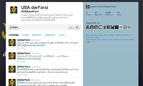 Cuenta en Twitter creada por el Departamento de Estado en lengua farsi para alentar protestas en Irán