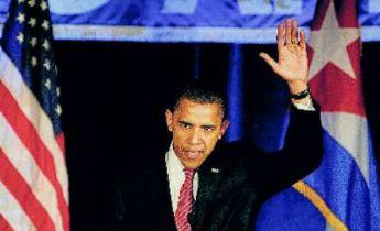 Obama en la Fundación Nacional Cubano Amercana durante su campaña electoral