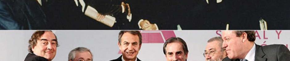 Arriba firma de los Pactos de La Moncloa (25 de Octubre de 1977). Debajo, firma del pacto de Reforma de las pensiones (2 de Febrero de 2011) Fuente:  http://www.rtve.es/noticias/20110202/nuevo-acuerdo-social-economico-reedicion-pactos-moncloa-tres-decadas-despues/400477.shtml