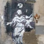 Madona de la pistola Banksy, Piazza Gerolomini, Nápoles